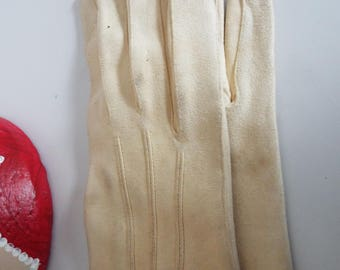 RARE Vintage 1940's  Ivory Reindeer Skin SUEDE Asymmetric Gloves  by Trefousse & Co Size 7