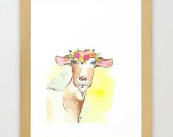 Goat printable - goat nursery art - farm animal nursery - digital download