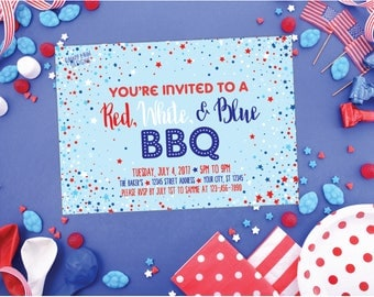 Red White and Blue BBQ Invitation, 4th of July Printable Party Invite, 4th of July BBQ Invite, Fourth of July Invite, Confetti Party Invite