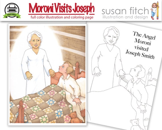 Angel moroni visits joseph smith illustration and coloring for Angel visits joseph coloring page