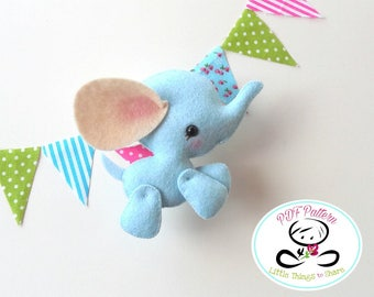 Baby Elephant PDF sewing pattern-DIY-Elephant toy pattern-Wild animals-Nursery decor-Instant download-Baby's mobile toy
