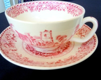 Vintage, WOODS,  Jumbo Cup & Saucer, Red Transferware, Castle, Scene, Serving, Bridal, Shabby chic