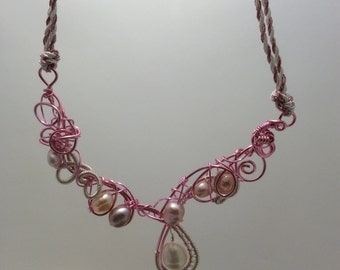 freeform wire wrapped necklace  with fresh water cultured pearls