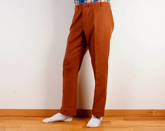 Vintage Men Pants Classic Trousers High Waist Caramel Brown Pants Vintage High Waist Trousers Rancher Pants