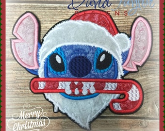 DIY Boutique Custom Christmas Santa Stitch Candy Cane Applique Iron On Patch Ready to Ship ***RTS***
