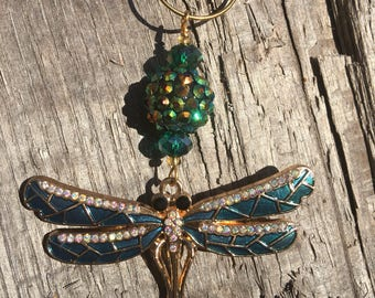 TEAL DRAGONFLY Christmas Ornaments | Rhinestone Christmas Ornament | Christmas Ornament Set | Dragonfly Home Decor | Baubles and By Gones