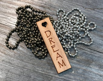 Dream Jewelry, Quote Necklace, Group Discounts, Wedding Gifts, Laser Engraved Quote Necklace, Customized Jewelry, Bursting Barns