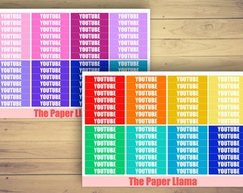 "36 ""YouTube"" Social Media Headers - Planner Stickers - ECLP And Happy Planner - 088 & 089"