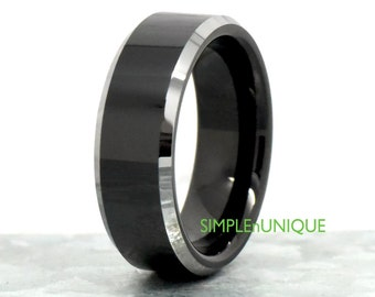 Unique Wedding Band, Unique Mens Ring, 8MM Black Tungsten Ring, Mens Black Ring, Man's Promise Ring, Gift Boyfriend, Valentine Gift