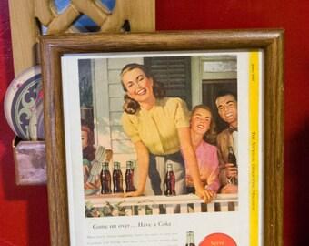 Framed Vintage Coca-Cola (Coke) Ad from June 1947