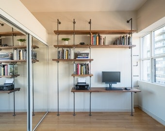 Industrial pipe and solid walnut wood desk with bookcase || Steel pipe and wood wall unit || Metal