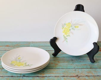 4 Vintage Melamine Saucers With Lovely Yellow Rose / Floral Design