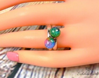 Statement ring, stacking ring, ring ball, customizable, color choice, resin ring, green, blue, Rainbow, adjustable, gift birthday