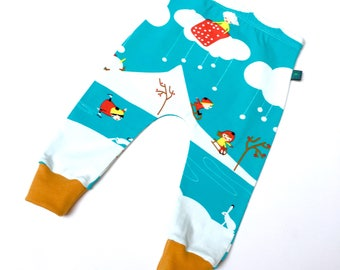Winter baby leggings, Baby clothes, baby leggings, organic baby clothes, snow, baby trousers, baby christmas gift