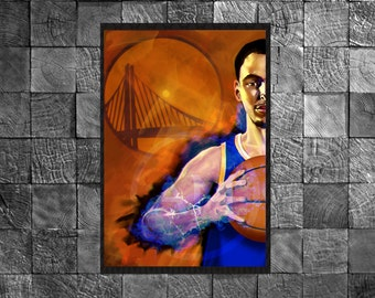 Stephen Curry Art Print Glossy Golden State Warriors NBA Illustration Poster Art