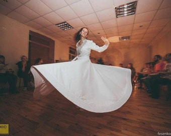 Whirling Skirt, White Sufi Skirt, Skirt for Whirling