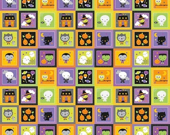Riley Blake Ghouls and Goodies glow in the dark patchwork border print halloween fabric by the yard, glow in the dark halloween fabric