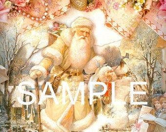Fabric Art Quilt Block -Old World Santa Collage - 5073 FREE Shipping