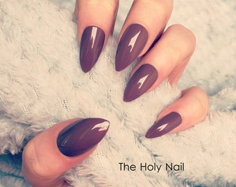 FALSE NAILS - Dark Chocolate Brown - Stick On - The Holy Nail