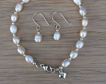Freshwater pearl & sterling silver earring and bracelet set - Bridal jewellery