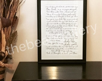 Framed Script Lyric | Scripture | Vows | Poetry Artwork