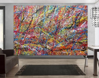 Original abstract artwork on canvas ready to hang 200x300cm #580