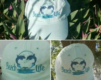 Beach Life Baseball Cap, Summer Hats, Embroidered Ball Caps, Personalized Hats, Monogrammed Baseball Hat Trucker Hats, Beach Hair Don't Care