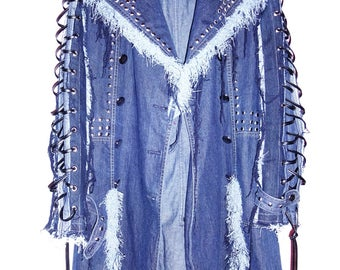 Denim on denim coat with fringes,studs &  sleeves and back lace up