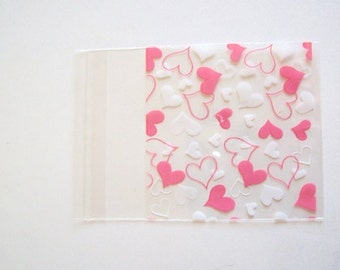 "plastic bags Cellophane bags 40 self seal bags clear heart pattern bags gift bags 2.75""(7cm)"