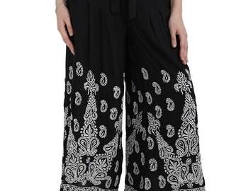 MYSTERY BLACK   chikankari embroidery Rayon  pants trouser  Salwar Boho hippie retro for women / ladies / girl