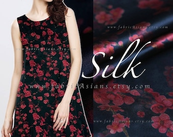 Black Silk fabric by the yard deep red flowers