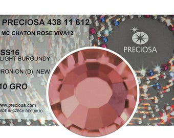 HOTFIX, 1440 Preciosa Genuine Czech Crystals 16ss Light Burgundy Viva12 Iron-on, ss16, 4mm, MC Chaton Rose Viva 12 faceted Rhinestones