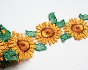 "2 "" Yellow/Green /Brown Sun Flower Daisy Embroidered Lace Trim  DIY Sewing Notions CF4032 by Yard"