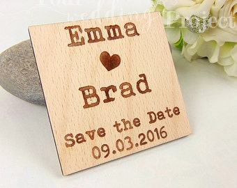 Typewriter Save the Date Magnet, Custom Engraved Save the Date, Wood Save the Date, Rustic Save the Date, Wedding Favors, Wedding Invitation