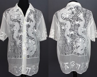 90's Men's Shirt......90's-Does-70's White Sheer Lace Dragon Print Shirt