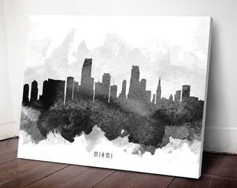 Miami Skyline Canvas Print, Miami Art, Miami Cityscape, Miami Art Print, Home Decor, Gift Idea, USFLMI11C