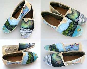 Bride's Love Story Wedding Shoes, Unique Wedding Shoes, Custom Painted TOMS, Custom TOMS, Painted Wedding Shoes, Gift for the Bride
