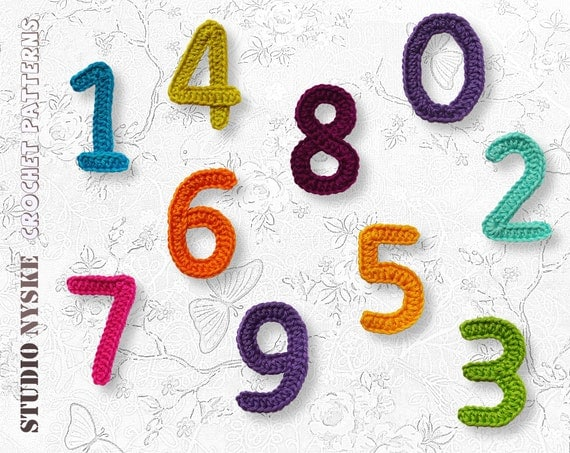 Crochet Pattern Numbers : Applique numbers pattern crochet large PDF instant download