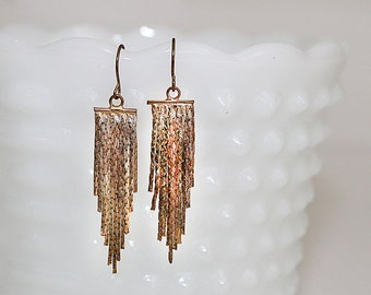 Vintage Gold Chain Dangle Fishhook Earrings, J135