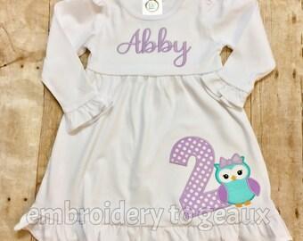 Personalized Girl's Owl Birthday Ruffle Dress, Girls Birthday Dress, Owl Birthday Shirt, Girls Birthday Dress, Owl Birthday Party Outfit