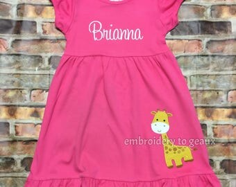 Personalized Girl's Giraffe Ruffle Dress--Zoo Birthday Dress--Girls Birthday Dress--Animal Birthday Dress