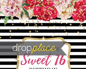 Custom Sweet 16 Stripe Flower Kate Spade Inspired Banner Red Pink Gold Background Event Photo Booth (Multiple Sizes & Materials Available)