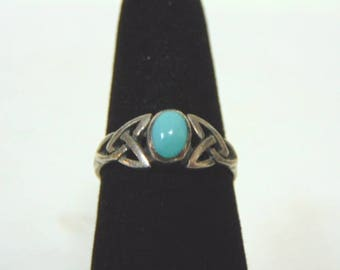 Vintage Estate Sterling Silver & Turquoise ? Eternity Knot Ring 2.4g E905