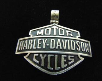Vintage Estate .925 Sterling Silver Harley Davidson Motorcycle Pendant 25.0g #E3106