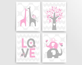 Pink elephant giraffe nursery art baby girl nursery wall art digital nursery art prints tree love birds nursery decor (505set810)(n015)