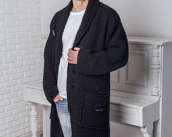 Mens gift  Cardigan for men Crocheted coat Black Sweater Bone buttons  Sweatshirt  Handmade Сoat Thick yarn Wool  Large size Men's fashion