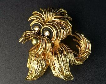 14K Yellow Gold Whimsical Puppy Doggy Dog Brooch Pin Diamond Enamel Eyes Retro