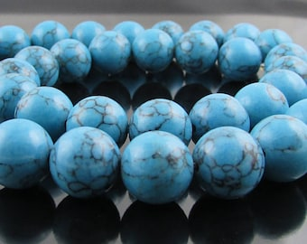 Turquoise Blue 10mm Rounds, Full Strand Semiprecious Stone Beads SB244ST
