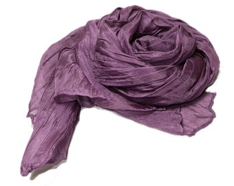 Hand dyed silk scarf - 4 sizes - crinkle scarf - TAUPE