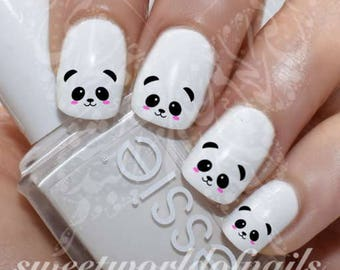 Panda Face Nail Art Nail Water Decals Transfers Wraps